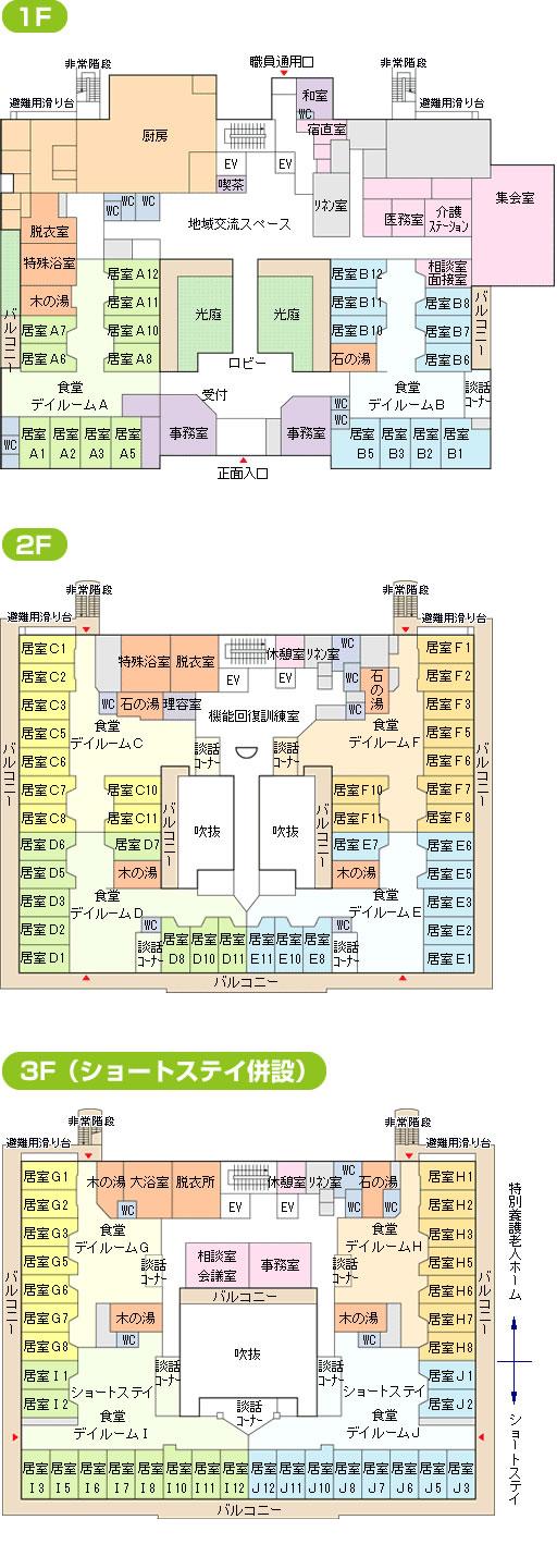 特別養護老人ホームの平面図